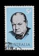 Постер, плакат: AUSTRALIA postage stamp featuring Winston Churchill circa 1965