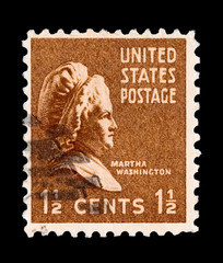 U.S postage stamp featuring Martha Washington circa 1938