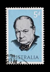 AUSTRALIA postage stamp featuring Winston Churchill circa 1965