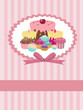 striped background with cupcakes and place for your text