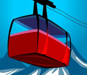 Illustration of a cable car in cable