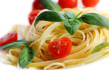 Fototapety Pasta with tomatoes and basil