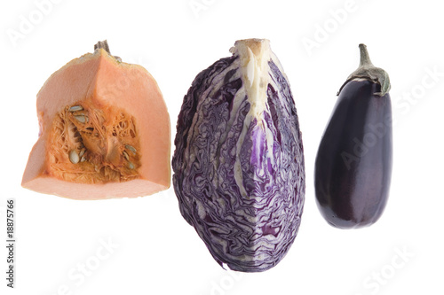 cabbage and eggplant and pumpkin