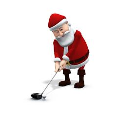 santa plays golf 1
