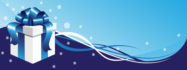 Winter background with gift box