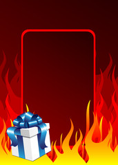 Gift box and the fire background