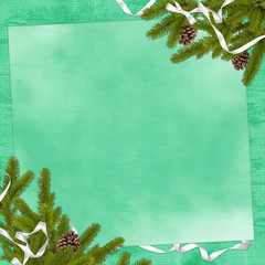 Card for congratulation with branches and ribbon on the green ba