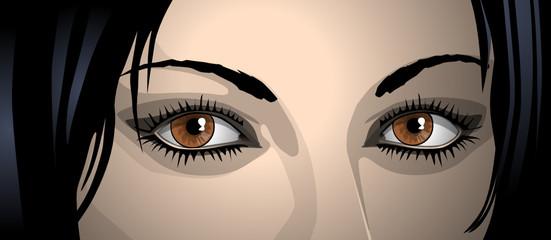 Gesicht einer jungen Frau, illustration