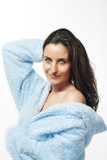 woman in bathrobe poster