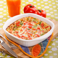 Omelet with vegetables.