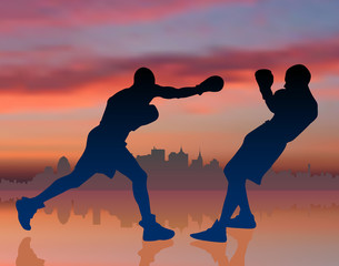 boxing on sunset background