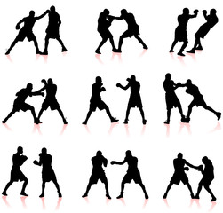 boxing silhouette collection background