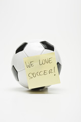 soccer ball with sticky note separated
