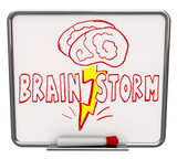 Brainstorm - Dry Erase Board with Red Marker poster