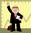 Illustration of a manager standing in front of a graph