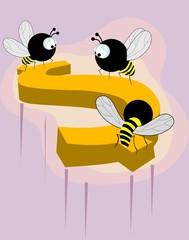 Illustration of honeybees sitting on a dollar
