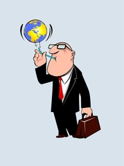 Illustration of a manager blowing the earth
