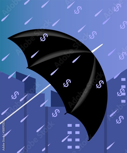 Illustration of an umbrella protecting from dollar rain