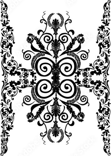 wide black floral vertical stripe © Alexander Potapov