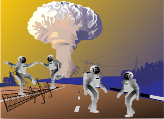 robots and atomic explosion