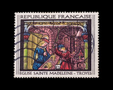 France circa 1967 - mail stamp featuring goldsmith at work poster