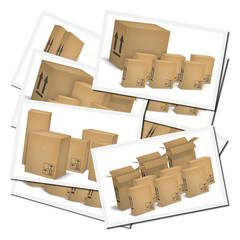 Illustrations of corrugated cardboard boxes ready for transport
