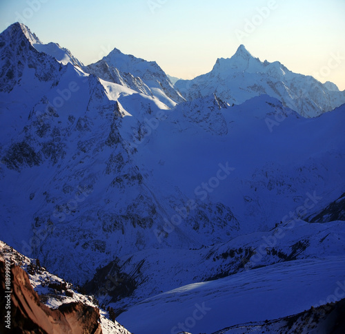 evening in snowy mountain, Elbrus area, north caucasus