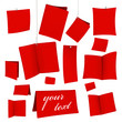 set of red vector blank white cards 07