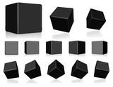 Fototapety vector black 3d cubes