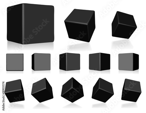 vector black 3d cubes