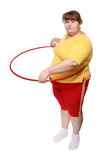 overweight woman exercising with hoop poster