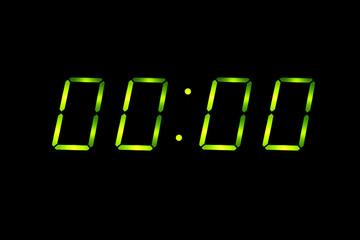 Digital countdown at zero