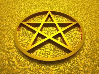 3D Pentagramm aus Gold auf goldener Struktur