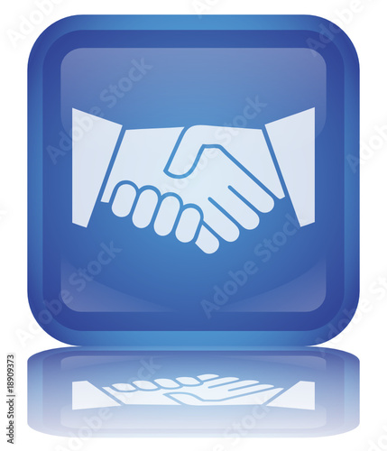 """""""Handshake"""" Button (square - blue - shiny - vector - reflection)"""
