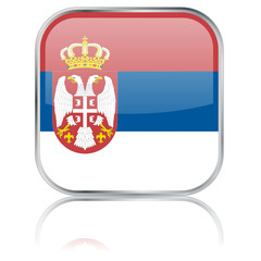 Serbian Flag Square Button (Serbia Serb Republika Srbija Vector)