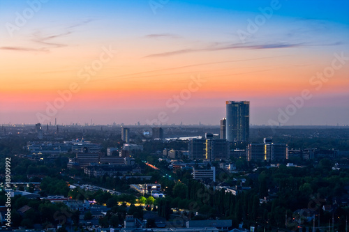 Panorama of Bonn after sunset