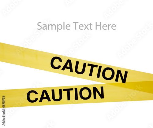 Yellow caution tape on white with copy space