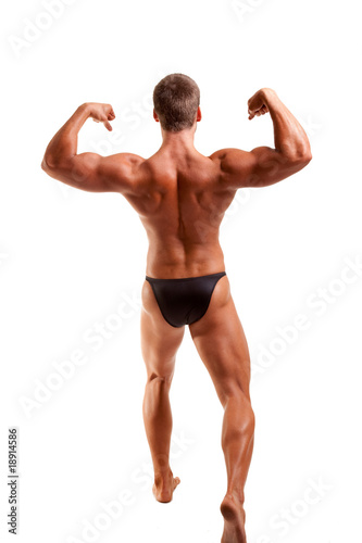 bodybuilder posing -show back