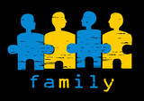 Illustration of family; concept of harmony, unity, family values poster