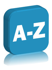 "3D Square Button with reflection ""A-Z"" (blue)"