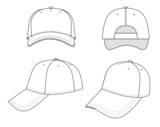 Outline cap vector illustration isolated on white