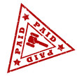 Paid grunge triangular stamp