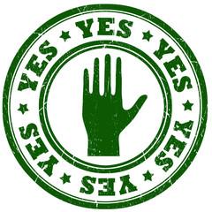 Yes green grunge stamp