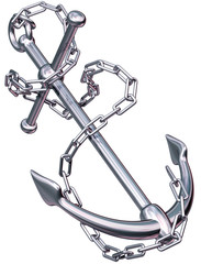 Modern anchor and chain