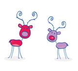 Doodle christmas reindeers isolated on white. VECTOR. poster