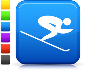 skiing icon on square internet button