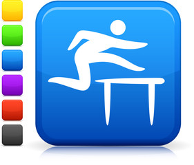 track and field  icon on square internet button