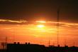 Leinwanddruck Bild - Sunset over city buildings, Thailand.