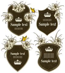 vector set: antique-framed labels with flowers