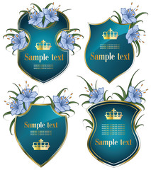 vector set: gold-framed labels with flowers